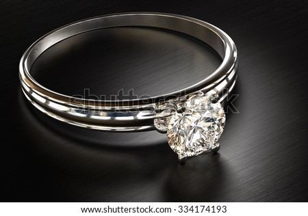 Diamond ring on a metal background 3d rendering. - stock photo