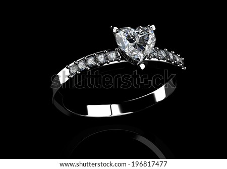 diamond ring on  black  background with high quality - stock photo