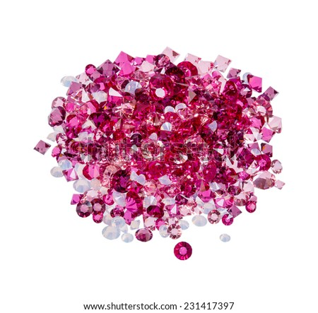 Diamond (ruby) stones heap isolated on white background - stock photo