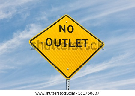 Diamond shape yellow sign reads No Outlet  - stock photo