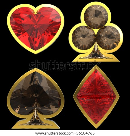Diamond shaped Card Suits with golden framing over black background. Other gems are in my portfolio. Extralarge resolution - stock photo