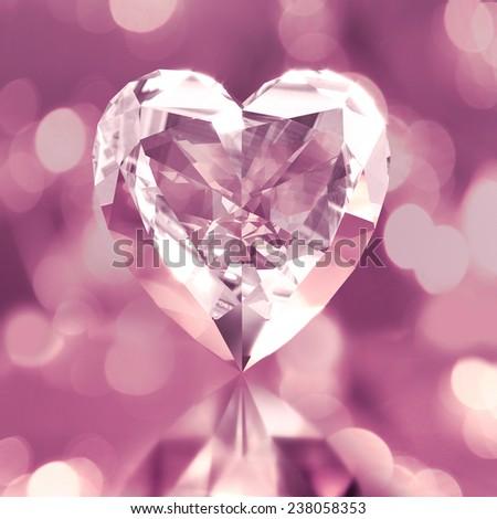 diamond shaped pink heart - stock photo