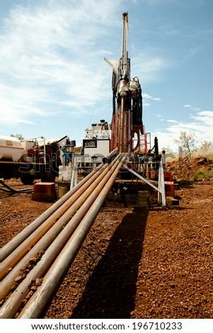 Diamond Tip Core Drill Rig & Drill Rods - Australia  - stock photo