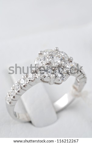 Diamond with white gold Ring - stock photo