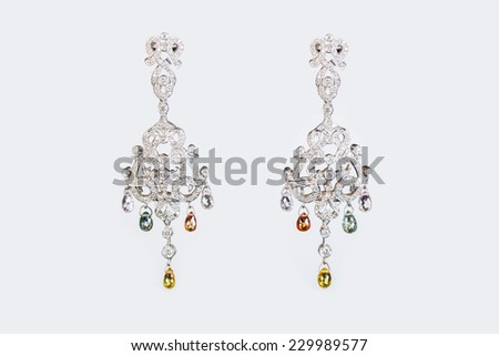 Diamonds Earring isolate on white background - stock photo