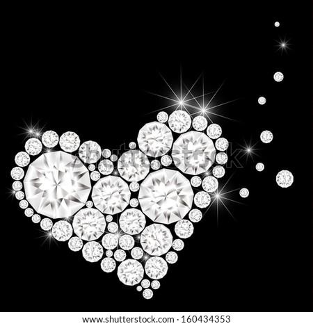 Diamonds is arranged in a heart shape - stock photo