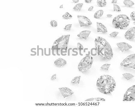 Diamonds isolated on white background with place for your text - stock photo