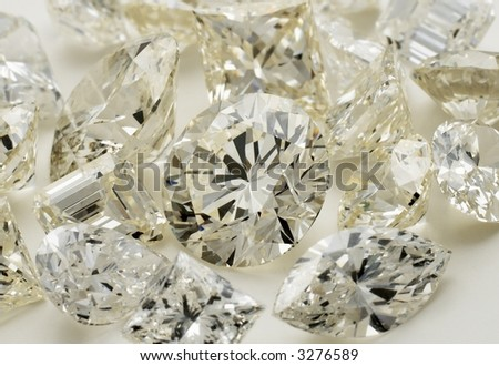 Diamonds- Many different shapes - stock photo