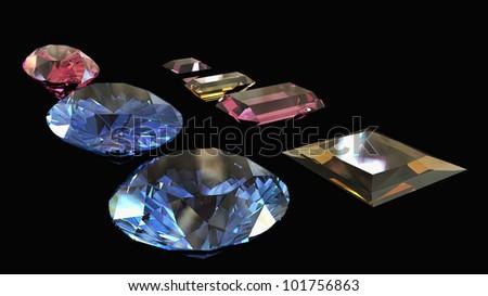 Diamonds  on black  background - stock photo