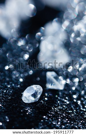 diamonds on black background - stock photo