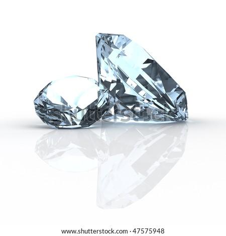 Diamonds on white - stock photo