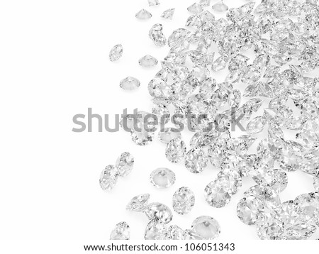 Diamonds on white background with place for your text - stock photo