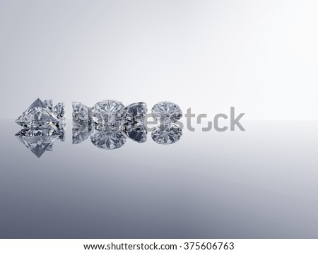 Diamonds placed on gradient background with space. - stock photo