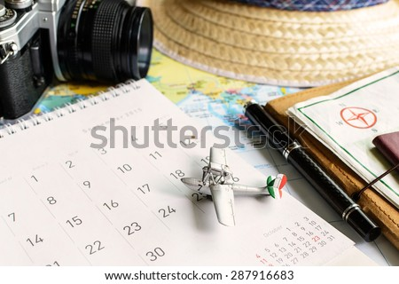 diary and calendar with passport, Travel planning - stock photo