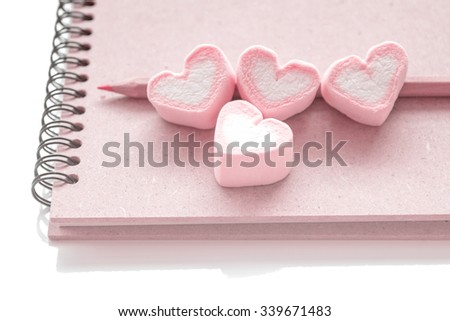 Diary book of love, decoration for love and valentine day concept -  vintage color tone style - stock photo