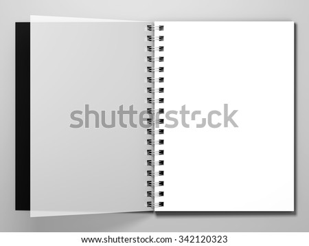 Diary with a black cover on white background. Diary with spring. 3d rendering - stock photo