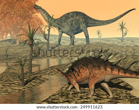 Dicaeosaurus and kentrosaurus eating plant peacefully by sunset - 3D render - stock photo