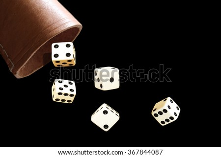 dice and dice cup - stock photo