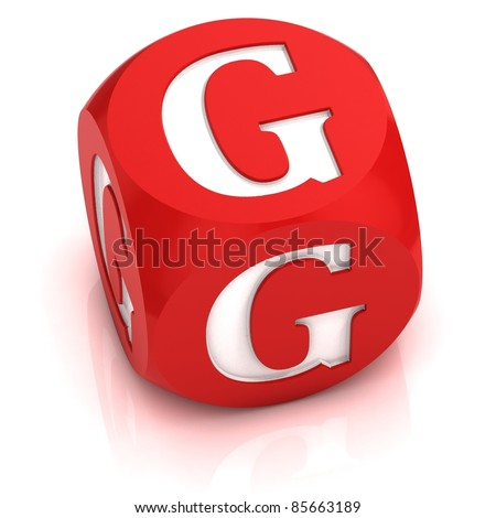 dice font letter G - stock photo