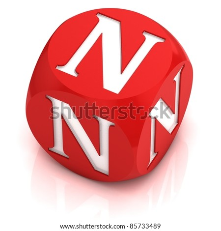 dice font letter N - stock photo