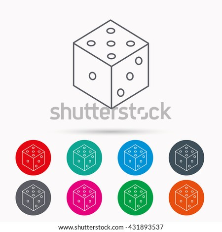 Dice icon. Casino gaming tool sign. Winner bet symbol. Linear icons in circles on white background. - stock photo