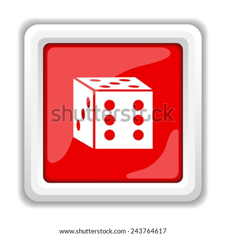 Dice icon. Internet button on white background.  - stock photo