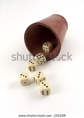 dice in leather - stock photo