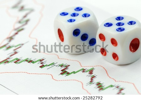 Dice on Chart,close up - stock photo