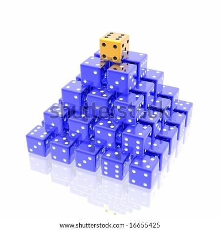 dice pyramid - stock photo