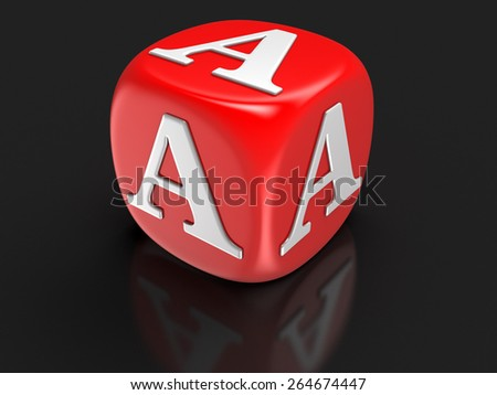 Dice with letter A (clipping path included) - stock photo
