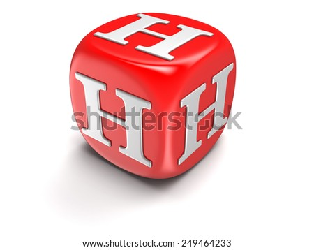 Dice with letter H (clipping path included) - stock photo
