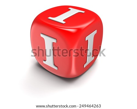Dice with letter I (clipping path included) - stock photo