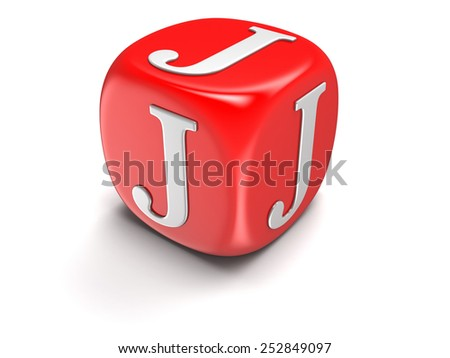Dice with letter J (clipping path included) - stock photo