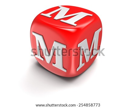 Dice with letter M (clipping path included) - stock photo