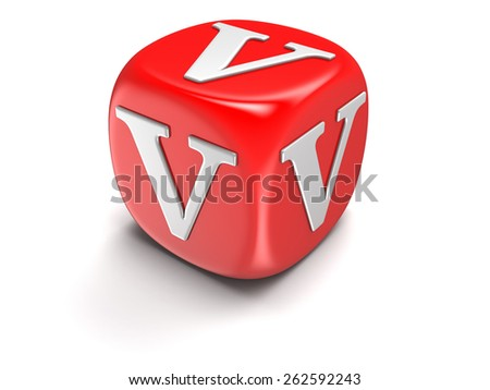 Dice with letter V - stock photo