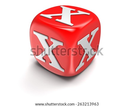 Dice with letter X (clipping path included) - stock photo