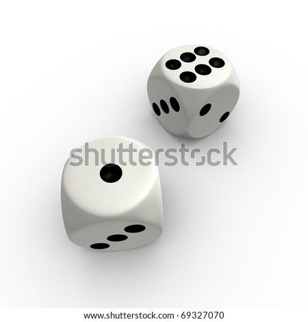 Dice with number one and six - stock photo