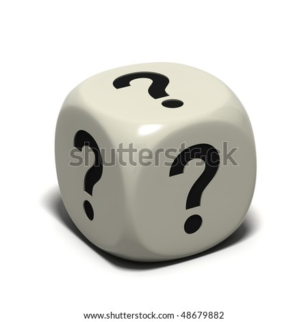 dice with question marks, isolated on white background - stock photo