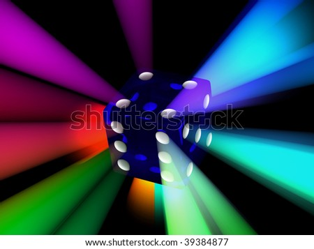 dice with rays from all sides - stock photo