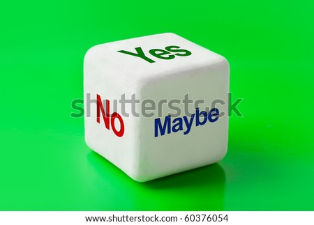 Dice with words Yes, No and Maybe - business concept background - stock photo