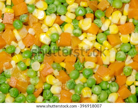 Diced Corn, Carrot and Pea background - stock photo