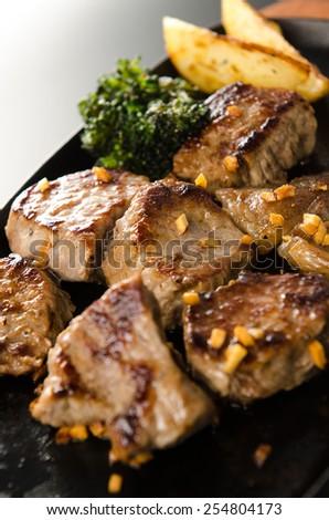 diced steak - stock photo