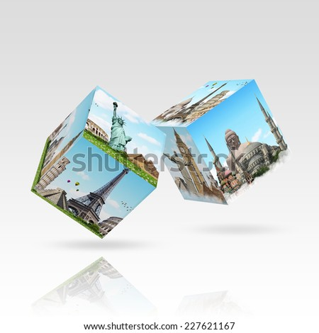 Dices game with differents travel location on each faces - stock photo