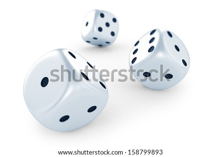 Dices isolated on white background - stock photo