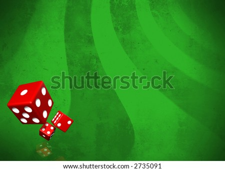 Dices on green grunge background with faded reflection with plenty of copy space - stock photo