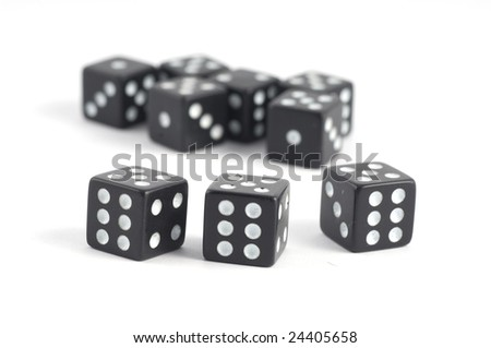 dices on white background - stock photo