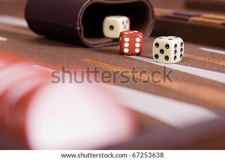 Dices set to play backgammon - stock photo
