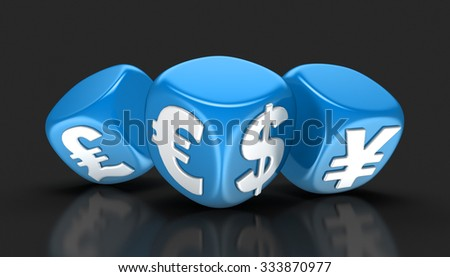 Dices with currencies (clipping path included) - stock photo