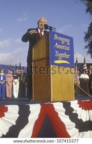 Dick Cheney at a Bush/Cheney campaign rally in Costa Mesa, CA, 2000 - stock photo