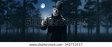 Dickens Scrooge Man with Candlestick in Foggy Winter Forest at Moonlight. - stock photo